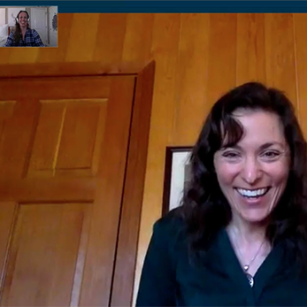 Screenshot of actual Progress for Life video chat, showing Explorer with progress coach Amy Jones