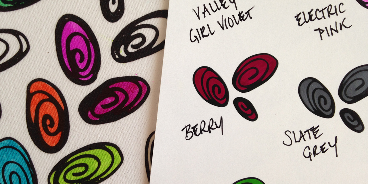 Samples of the Sharpie color Berry shown on both satin canvas and a Color Tester on museum print