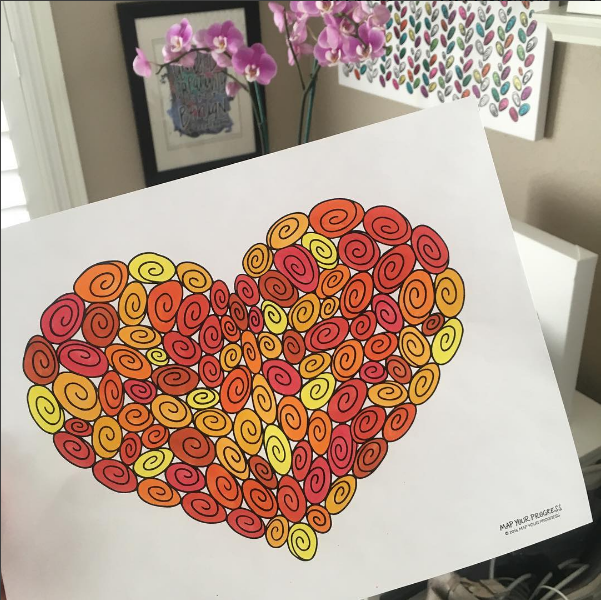 Heart-shaped artwork made up of 100 swirls; the visual represents 100 small acts of self-care; this map is a special edition Creative Progress Map from Map Your Progress which features swirls that are numbered 1 through 100 to make it easier to track progress within the 100-day Self-Care Love Affair
