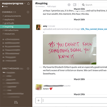 Screenshot of actual Progress for Life channel within Slack; highlighting the the channel for inspiration
